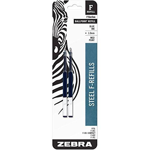 Zebra Pen F-Series Pen Refill - Blue - 2 / Pack -