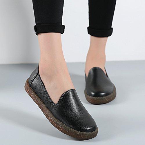 Stq Donna Slip On Mocassini In Pelle Comfort Low Top Flats Fashion Mocassini Con Zeppa Nere