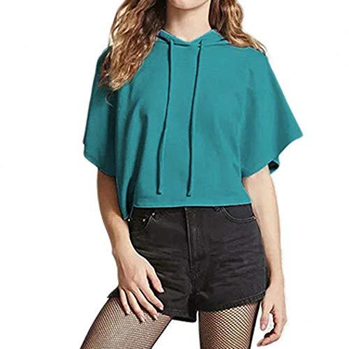 sweat Unie T Courte Veste Manche shirt Casual Tunique Capuche Mode shirt Crop Poachers Bleu Été Tee Couleur Court À Top Femme IvOdPIzq