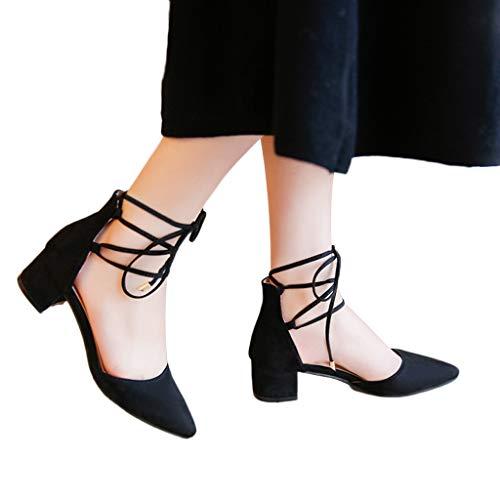 Sandale Sandales Toe Pointu Mode Talon Femme Talon Carré Mocassins Casual Dames Chaussures Femmes Black x7rq7BWwY
