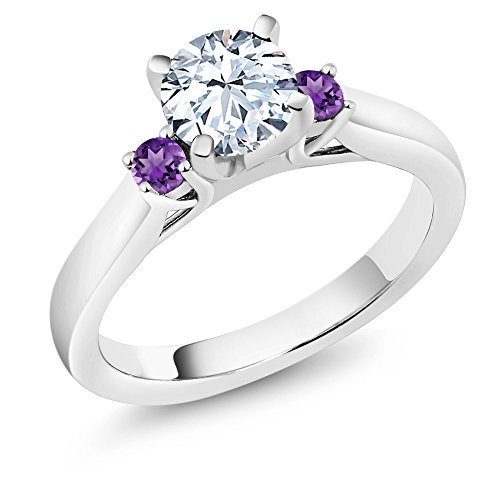 1.40 Ct White Created Sapphire Purple Amethyst 925 Sterling Silver 3-Stone Ring (Available in size 5, 6, 7, 8, (Created Purple Sapphire)