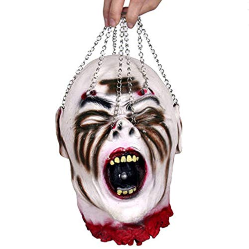 HIIXHC Halloween Decorations Severed Head Cut off Corpse Head Prop Hanging Bloody Gory Latex Zombie Party -