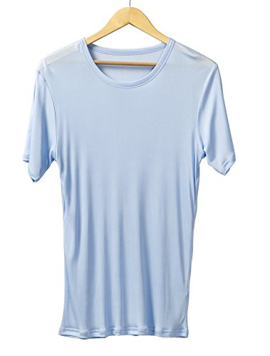 WSLIFE Men's Pure Mulberry Silk Knit Crewneck T-Shirts Men Undershirts (Light Blue, XXL) - Mens Crewneck Shirt