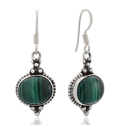 925 Sterling Silver Green Malachite Gemstone Indian Inspired Vintage Oval Dangle Hook Earrings 1.5