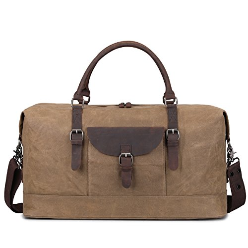 S-ZONE Oversized Travel Duffel Tote Bag Waterproof Waxed Canvas Crazy Horse Leather Trim Weekend Bag Carryon Overnight Handbag (Khaki) Review