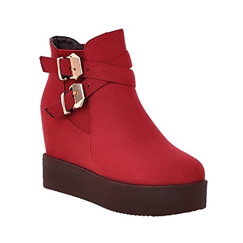 Latasa Womens Faux Nubuck Platform Wedges Ankle Jodhpur Boots Red E2lIb