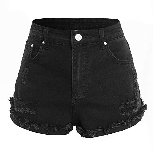 LilyCoco Women's Juniors Mid Rise Ripped Denim Shorts Stretchy Frayed Distressed Jeans (Medium, Black)