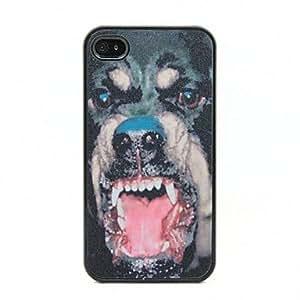 ZMY Patrón perro feroz Negro Frame PC caso duro para el iPhone 4/4S