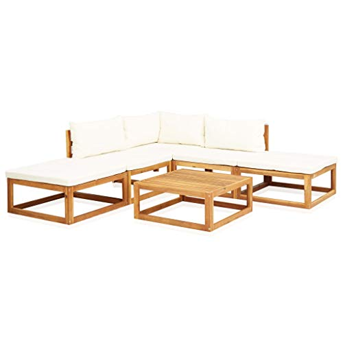Tidyard 6 Piece Garden Lounge Set with Cushions and Pillows Patio, Table and Sofa with Cushion Balcony or Garden Solid Acacia Wood Brown