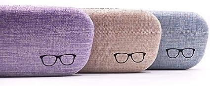 Blau DaoRier Brillenetui Mode Leinen Hardcase Brillenbox mit Eingebaute Pl/üschschicht f/ür Schutzbrille Vermeiden Kratzerbrillen