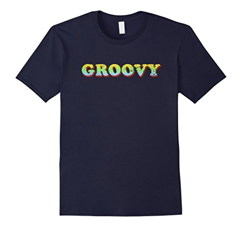 [Mens Groovy 70's Costume T-Shirt Easy Halloween Tee 3XL Navy] (Last Minute Halloween Costumes For Plus Size Women)