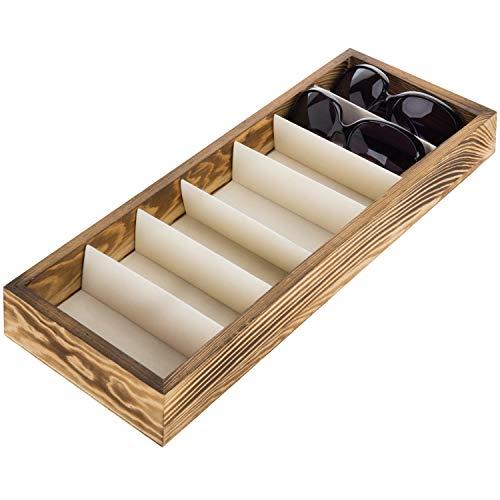 Modern Brown Wood 7 Compartment Eyewear Storage Organizer Box/Open Top Sunglasses Display Case ()