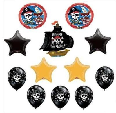 Skull Bouquet - PIRATE Ship Skull (12) BIRTHDAY Party BALLOONS Bouquet by Lgp