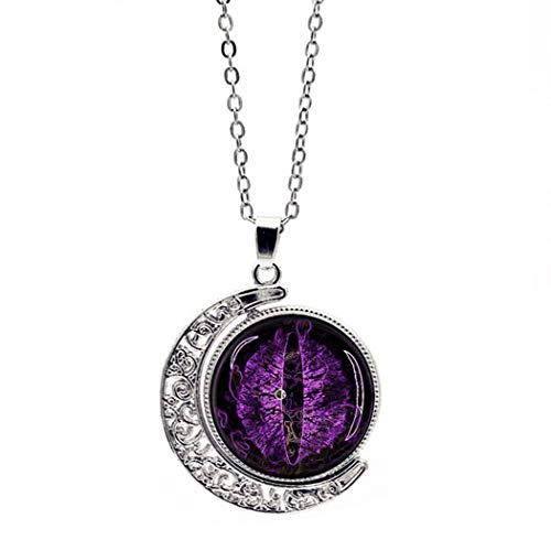 - YUANOMSL Women Necklace,Time Gemstone,Silver Purple Longan Art Double-Sided Rotating European and American Necklace Crystal Pendant Retro Sweater Chain
