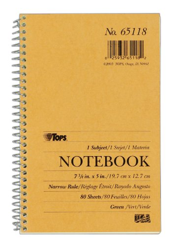 Pressboard Notebook - TOPS 1-Subject Kraft Wirebound Notebook, Pressboard Cover, 5 x 7.75 Inches, Narrow Rule, 80 Greentint Sheets per Book, Tan Cover (65118)