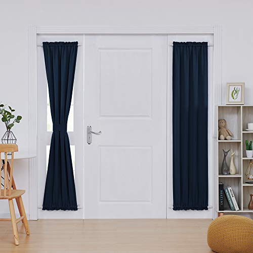 Deconovo French Door Curtains Room Darkening Thermal Insulated Blacktout Curtains for Door 25x72 inch Navy Blue 1 Panel ()