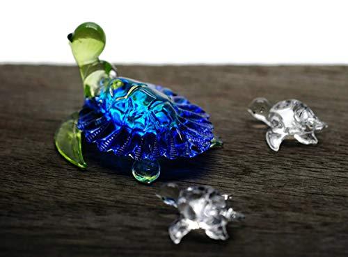- ChangThai Design 3 Pcs Aquarium Blue with Cute Baby Turtle HandBowl Glass Dollhouse Miniatures Decoration Figurine Collection