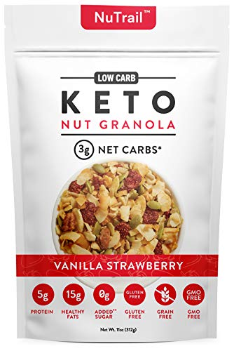 NuTrail™ – Keto Vanilla Strawberry Nut Granola Healthy Breakfast Cereal – Low Carb Snacks & Food – 3g Net Carbs – Gluten…