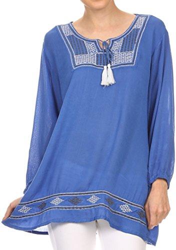 Sakkas VT202 - Samne Long 3/4 Length Sleeve Embroidered Batik Blouse Tunic Shirt Top - Blue/White - OS