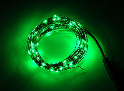 Karlling Indoor Led String Lights Green 100 leds Copper Wire 33ft Waterproof LED Starry Light with 6v Power Adapter For Christmas Wedding and Party (Lamps 100 Lights Green Wire)