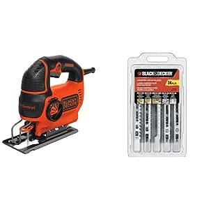 BLACK+DECKER BDEJS600C 5.0-Amp Jig Saw with 75-626 Assorted Jigsaw Blades Set, Wood and Metal, 24-Pack