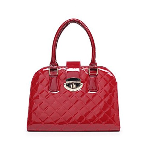 Hoxis Diamond Quilted Patent Faux Leahter Structured Shell Satchel Womens Shoulder Handbag (Red)