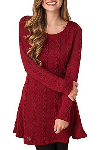 (Mulisky Ladies Round-Neck Fitted Long Sleeve Basic Knit Sweater Mini Dress Red L)