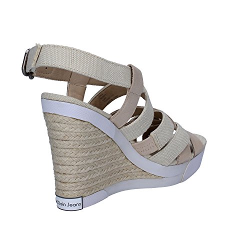 Calvin Klein Jeans Sandales Compensées Femme Beige Tissu Cuir Ah418