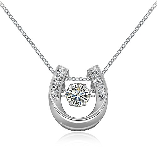 Silver Horseshoes Sterling - ACJNA 925 Sterling Silver Lucky Horseshoe with CZ Cute U Pendant Necklace Jewelry (U Pendant Necklace)