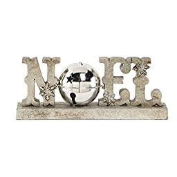 8 Inch Noel Tabletop with Silver Bell