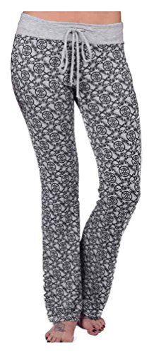 HARLEY-DAVIDSON Womens Roses BG Allover Print Drawstring Lounge Pants, Gray (XL)