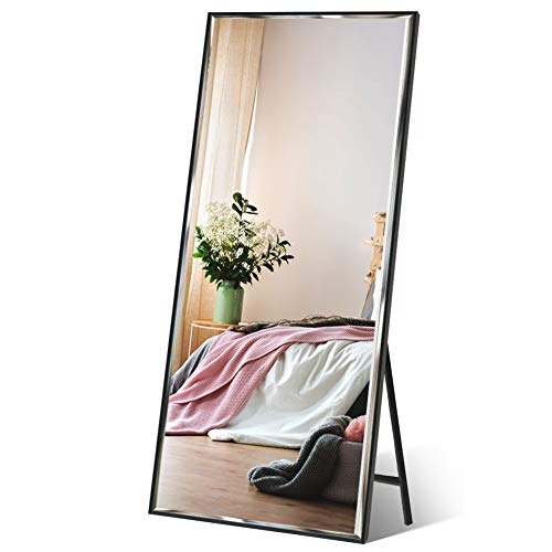 "Full Length Mirror 65""x23.6"" Standing/Wall Hanging, Vertical Black Frame HD Rectangle Full Body Tall Big Floor Stand up or Wall Mounted Mirror"