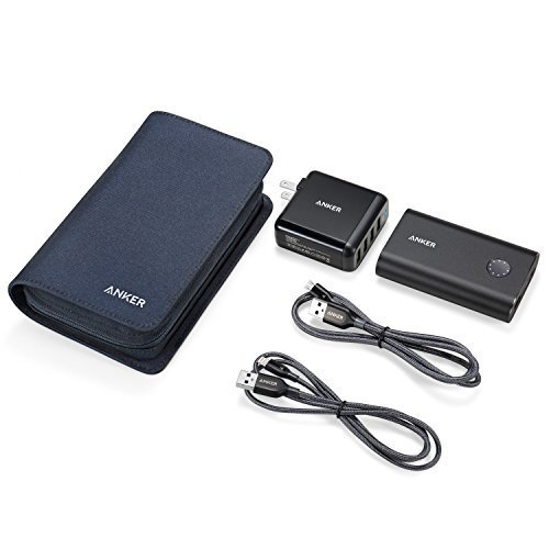 Anker PowerPack with Quick Charge 3.0, PowerCore+ 10050 Portable Charger, PowerPort 4 40W 4-Port USB Wall Charger, PowerLine+ Lightning and Micro USB (3ft cables), with Travel Case by Anker