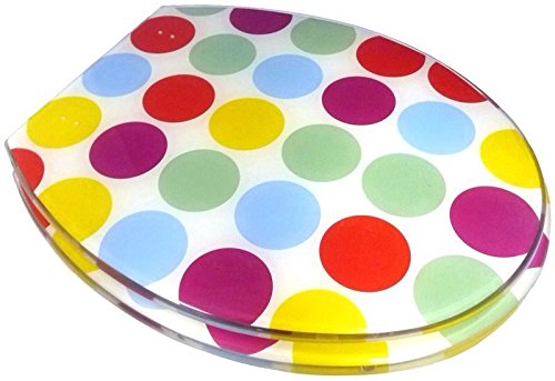 FUNKY MULTI COLOURED POLKA DOT SPOT SPOTTY RESIN TOILET SEAT ...