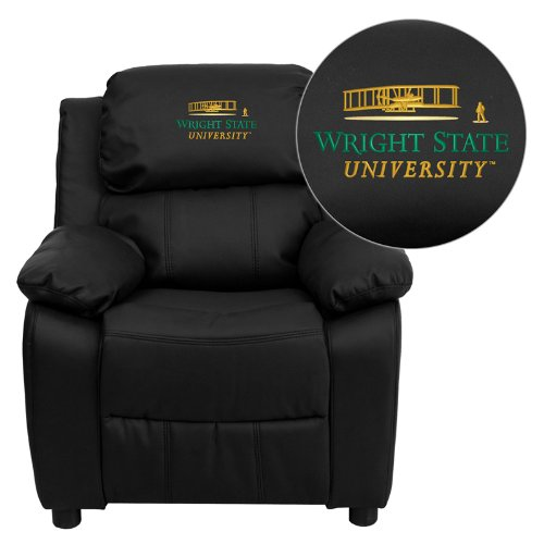 - Flash Furniture Wright State University Embroidered Black Leather Kids Recliner with Storage Arms