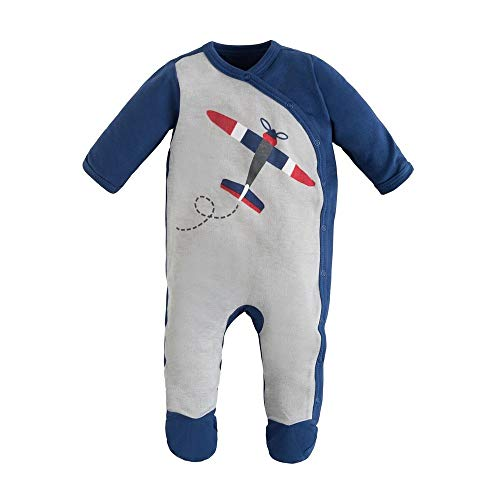 Under the Nile Organic Cotton Airplane Screenprint Baby Boy Side Snap Footie (6-9m)