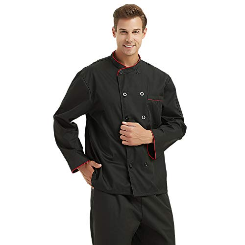 TopTie Unisex Long Sleeve Button Chef Coat, Black with Red by TopTie (Image #1)
