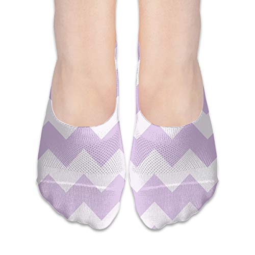 No Show Socks Lavender Purple Chevron Personalized Womens Low Cut Sock Loafers Invisible Socks for Girl