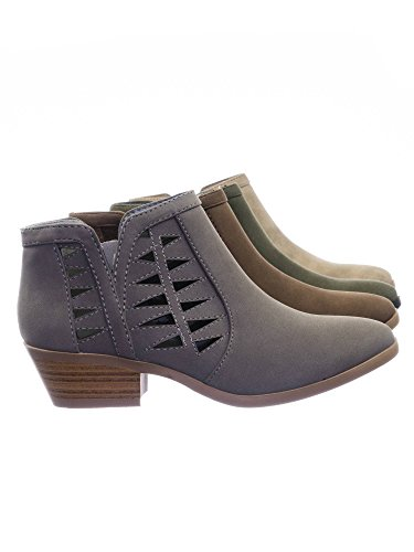 Perforated Cut Nubuck Women's Gray Booties Stacked FF50 Ankle Heel Out Block Soda xnBHq