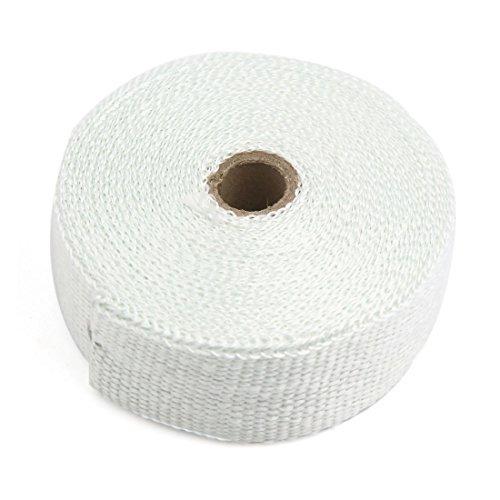 eDealMax 10 m tiss Blanc en Tissu Auto Moto Pipe d'chappement Isolation thermique Wrap Ruban