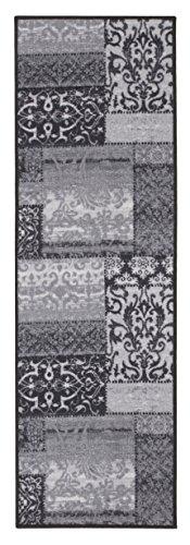 Andiamo 110364 Vintage Flach / Kurzflor Classique Teppichläufer Orient Muster Vintage Look Läufer, 57 x 180 cm, grau