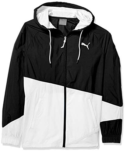 Puma Windbreaker Jacket - PUMA Men's A.C.E. Full Zip Windbreaker, Black White, S