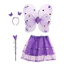 BESTOYARD Princess Fairy Costume Butterfly Costumes Outfit Set with Wings,Tutu,Wand and Headband for Girls Dress Up ,Ages 3-6,4pcs (Purple)
