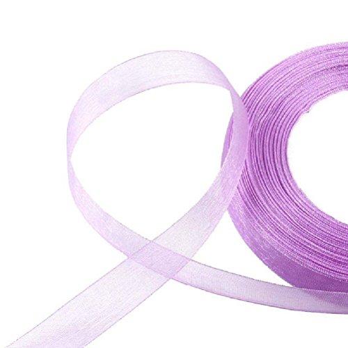 50 Yards Organza Satin Ribbon Wedding Party Craft 10 15 25mm Color Pick Sew