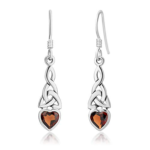 925 Sterling Silver Celtic Knot Red Garnet Gemstone Heart Drop Dangle Hook ()