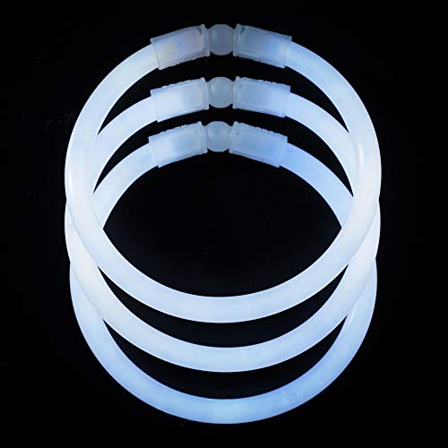 CoBeeGlow 100-Pack White Glow Stick Bracelets Bulk Pack of 8 Inch Glowstick with Connectors | Non-Toxic and Safe for Kids| 6mm Thick for More Glow: Bring Joy to Your Life -