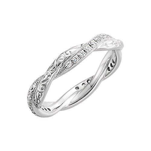 Bonyak Jewelry 14k White Gold 1/5 CTW Diamond Design-Engraved Eternity Band - Size (Diamond Engraved Eternity Band)