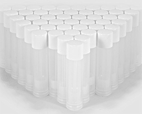 Premium Vials, 50 pcs, Empty Lip Balm Containers - Make Your Own Lip Balm, Empty Tubes - 3/16 Oz (5.5ml) (White Cap)