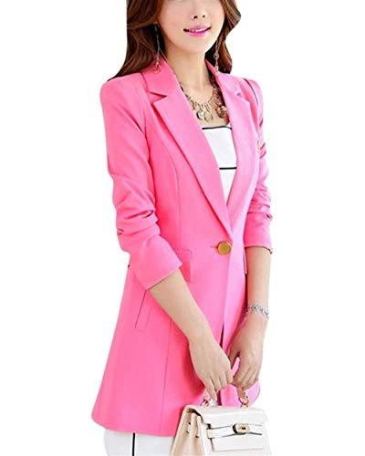 marca Autunno Stile Camicia Modern Button di Manica Blazer Outwear Lungo Giubotto Lunga Monocromo Donna Mode Bavero Elegante Fit Slim Pink ETvavq