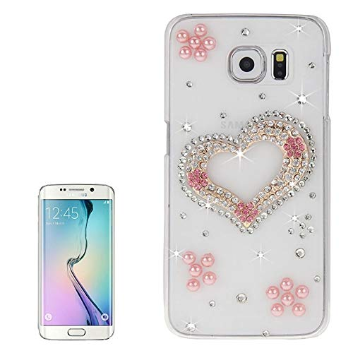 (#52) For compatible with Galaxy S6 Edge / G925 Transparent Diamond Encrusted Heart Pattern Protective Case